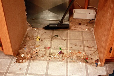 DIrt between stove and counter