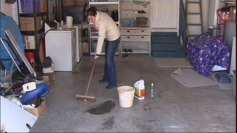 cleaning a garage floor