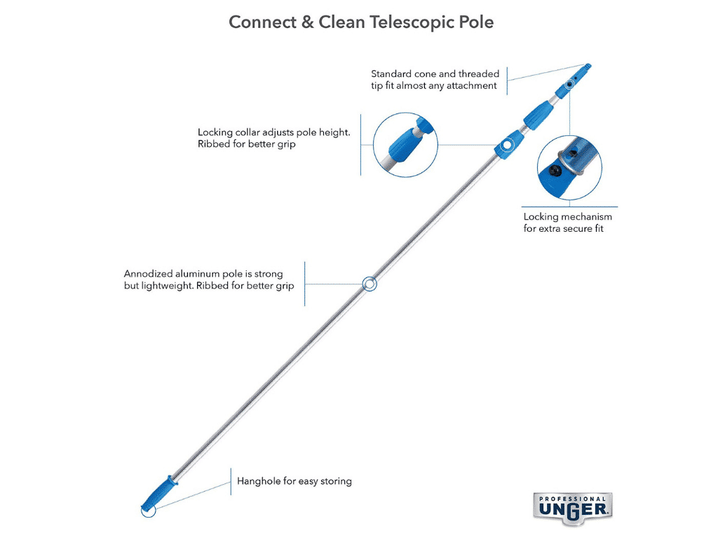 diagram of Unger Industrial 8-20-Feet Telescopic Aluminum Pole with Connect/Clean System, Locking Cone and Pro Collar