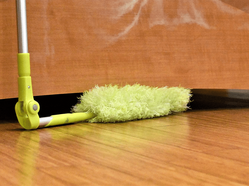 Image of Pure Care Microfiber Duster with Extension Pole used on hardwood