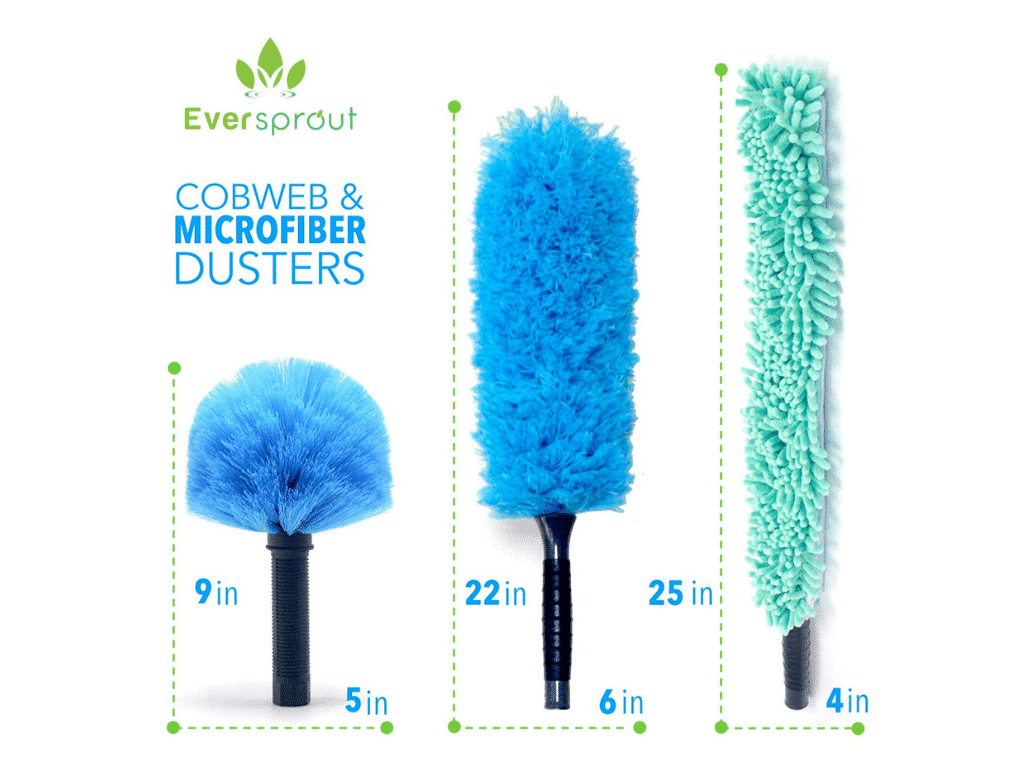 Image of dimensions of EVERSPROUT Duster 3-Pack with Extension-Pole