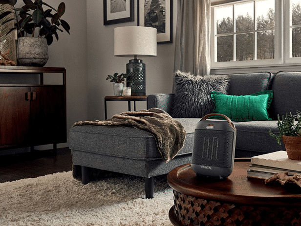 image of small space heater heating a comfy living room