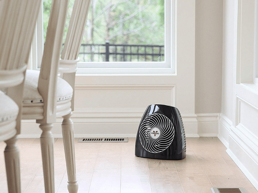 Vornado MVH Vortex Space Heater In Corner of Dining Room