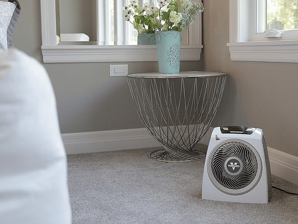 Vornado QUIET Vortex Heater in room corner