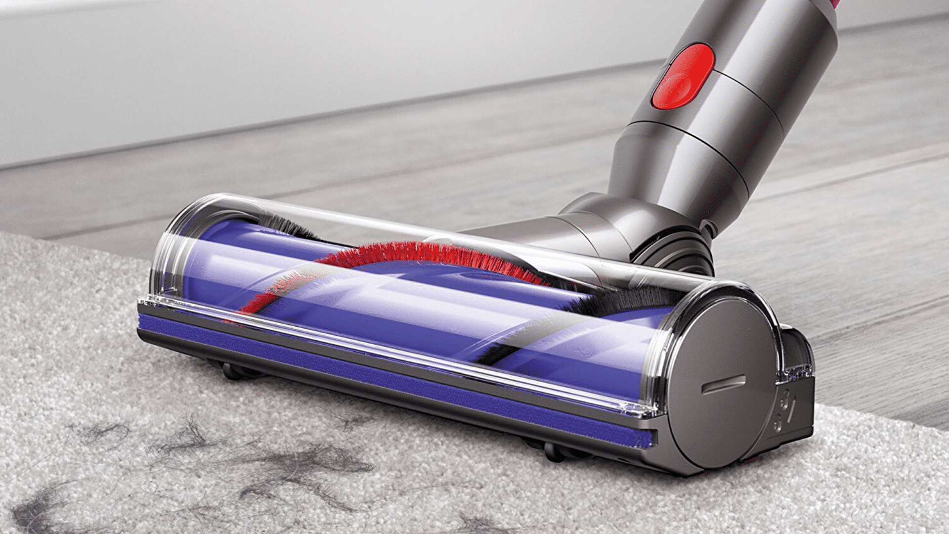 image of Dyson V7 Motorhead Cordless Vacuum Cleaner being used to clean carpet