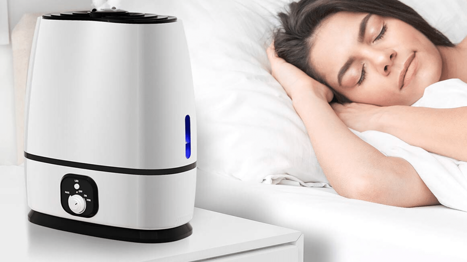 picture of person sleeping beside everlasting comfort ultrasonic cool mist humidifier