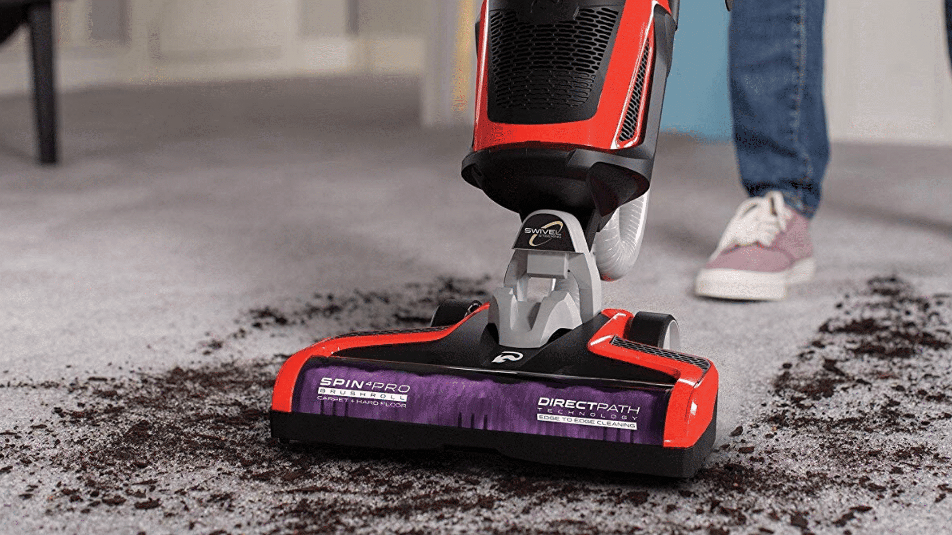 product image of Dirt Devil Razor Pet Bagless Multi Floor Corded Upright Vacuum Cleaner with Swivel Steering being used to clean carpet