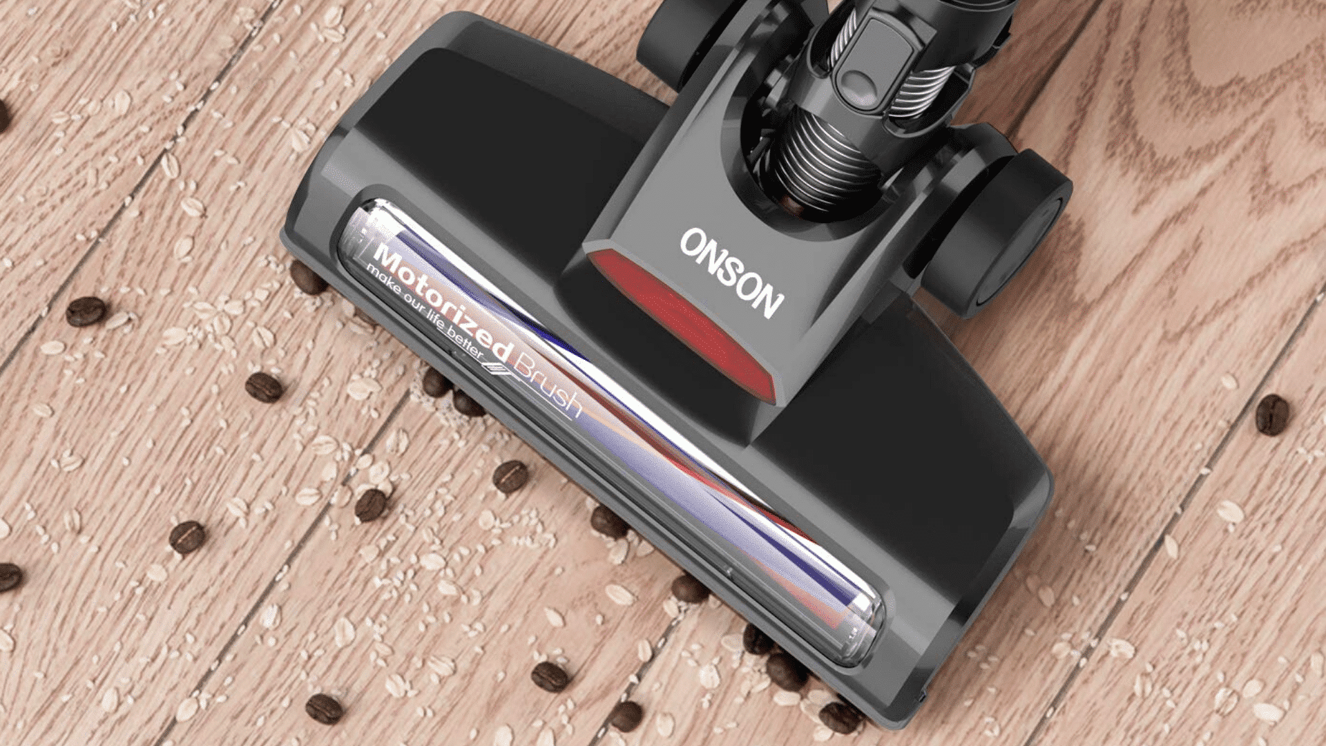image of ONSON Stick Vacuum Cleaner being used to clean floor