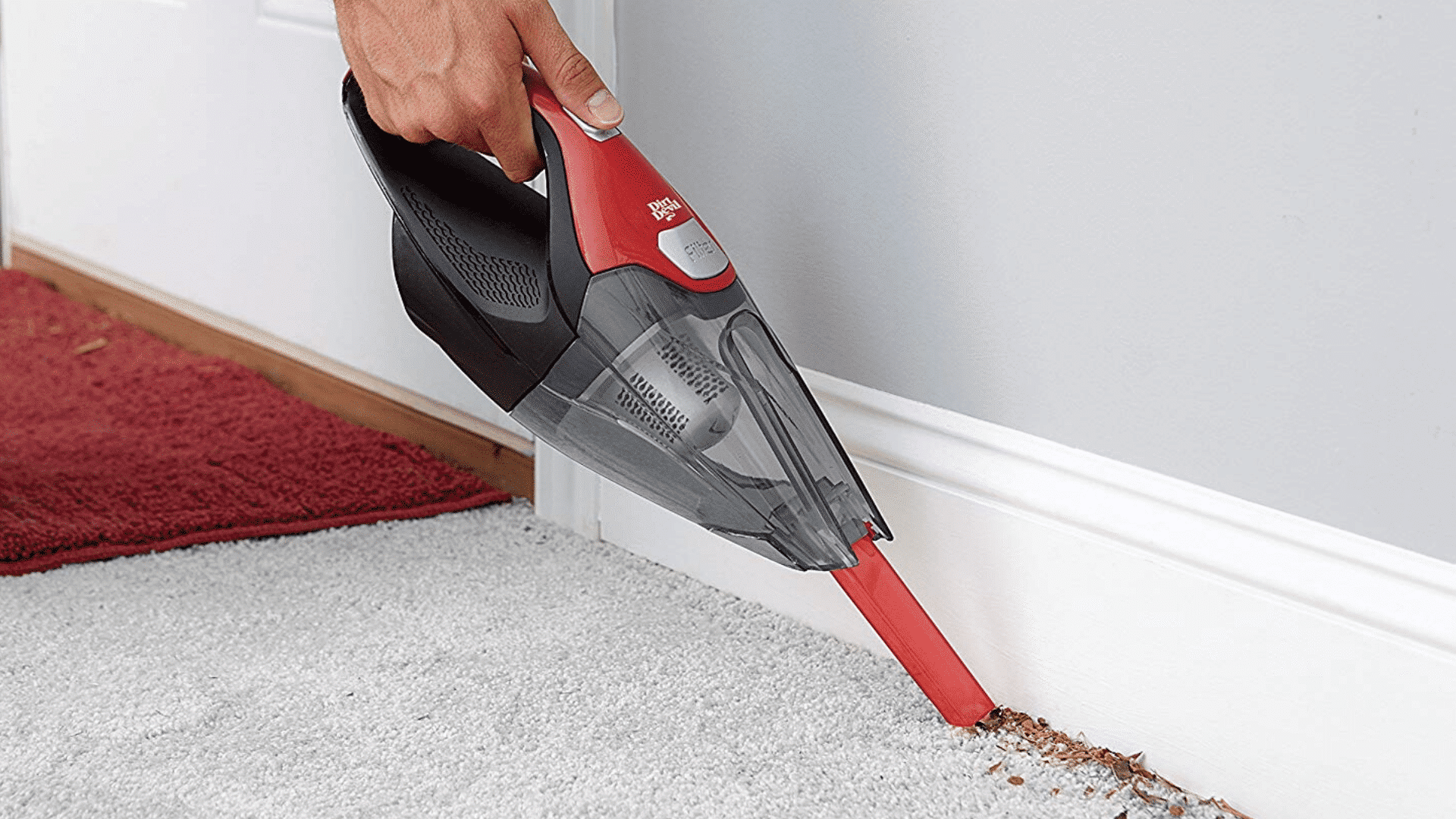 picture of Dirt Devil Plus 16V Quick Flip Pro Cordless 16 Volt Lithium Ion Bagless Handheld Vacuum Cleaner BD30025B being used to clean corner