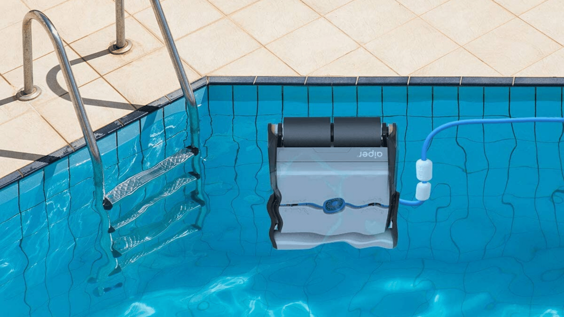 image of AIPER Automatic Robotic Pool Cleaner climbing wall