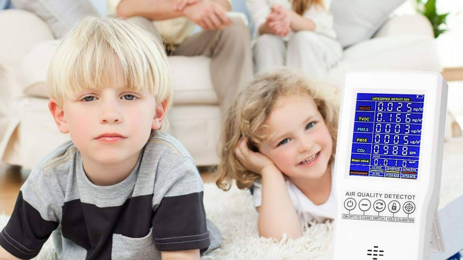 picture of kids with air quality monitor biaoling accurate tester