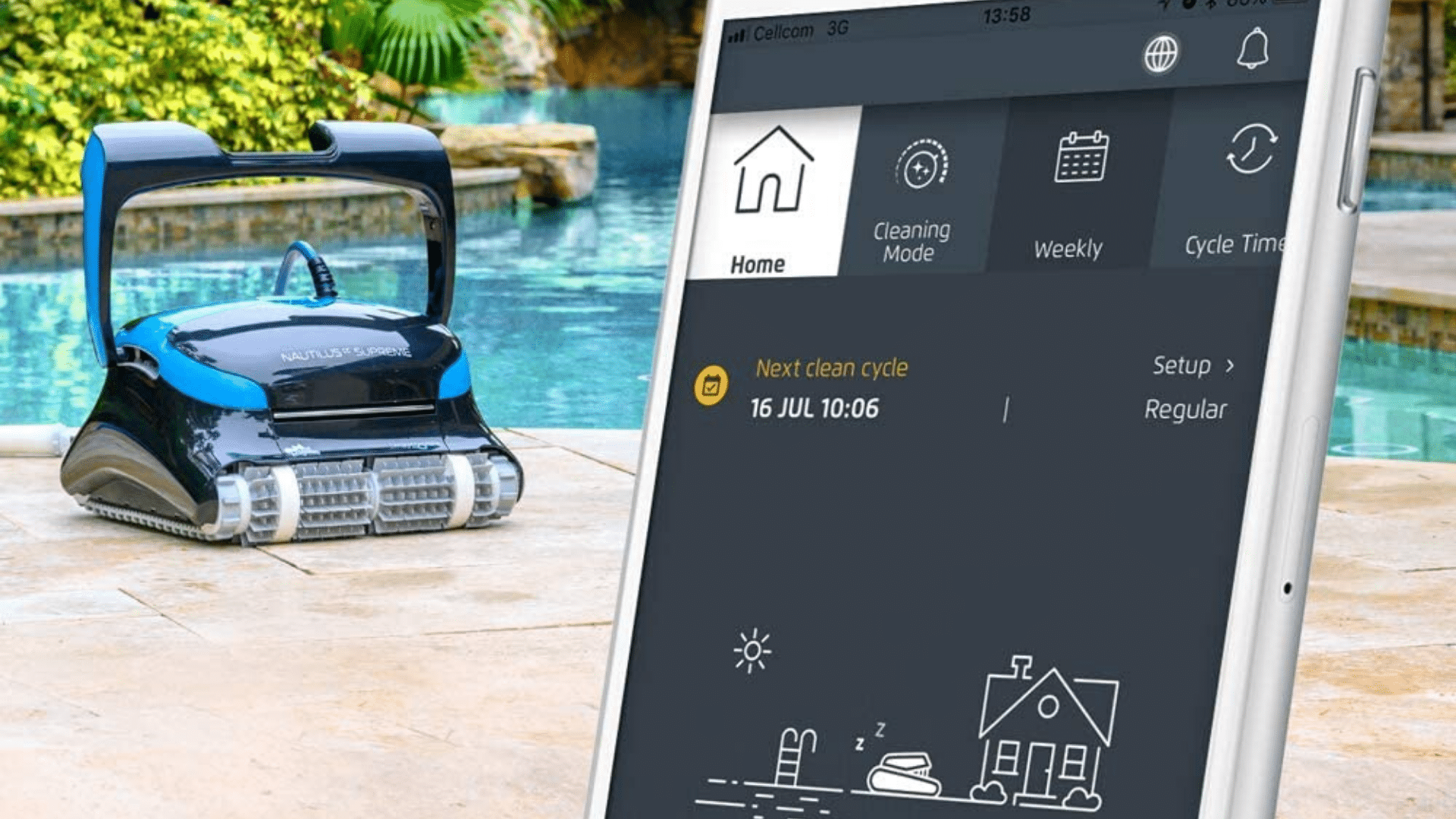 image of DOLPHIN Nautilus CC Supreme Automatic Robotic Pool Cleaner Smart capabilities on mobile