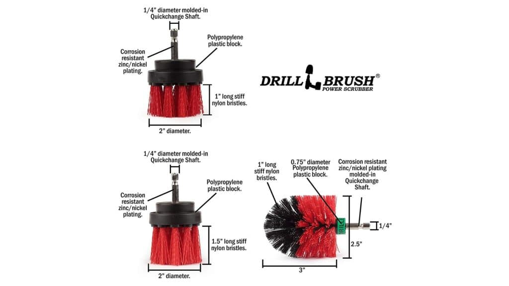 diagram of Product image of Cleaning Supplies - Drill Brush - The Ultimate Stiff Bristle Cleaning Attachment Kit