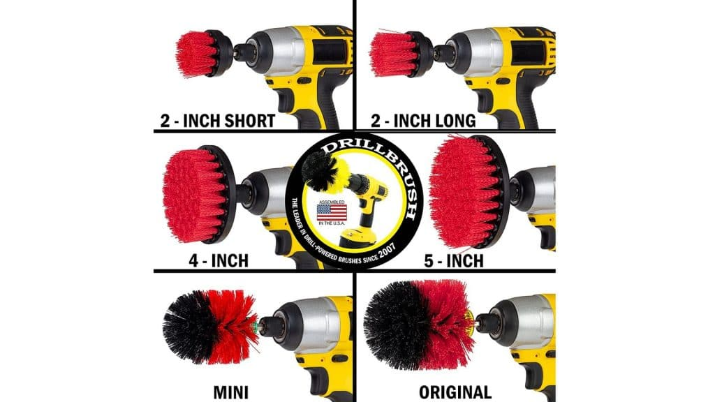 picture of brushes in the drill brush ultimate stiff bristle cleaning attachment kit