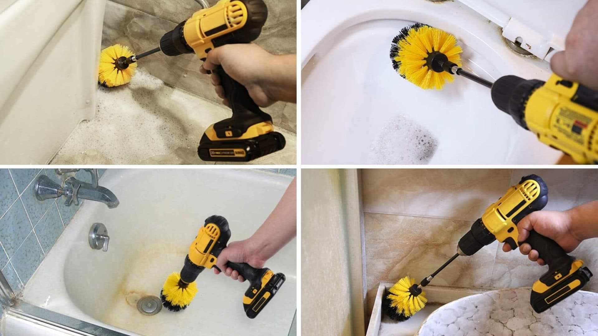 image of HIWARE Drill Brush Attachment Set being used to clean different surfaces