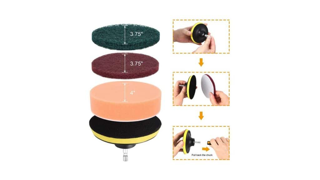 diagram showing how to use different size scouring pads using herrfilk drill brush