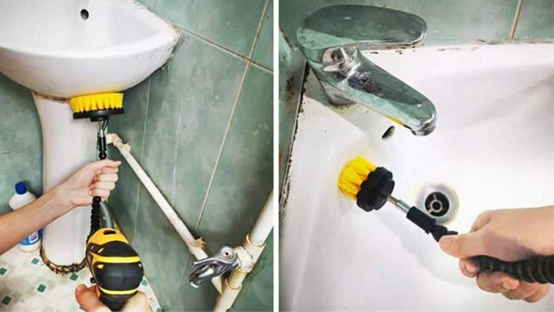 image of person using Jumbo Filter's 22Pcs Drill Brush Power Scrubber 6 Drill Brushes to clean sink and bathroom
