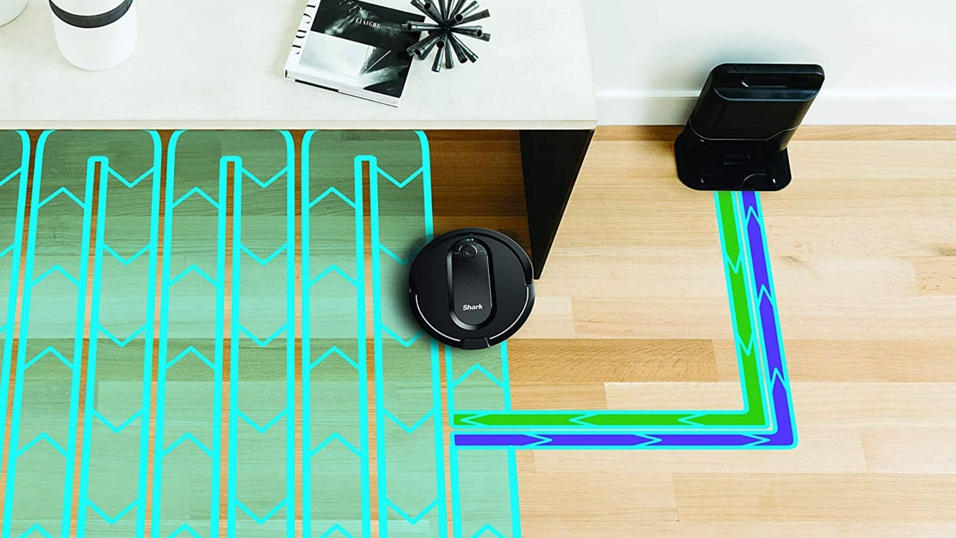 picture of shark iq self empty base robot vacuum setting out path to clean row by row