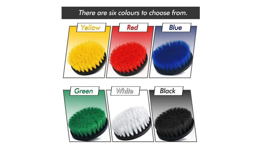 the six sheildpro rill brush attachment set colors
