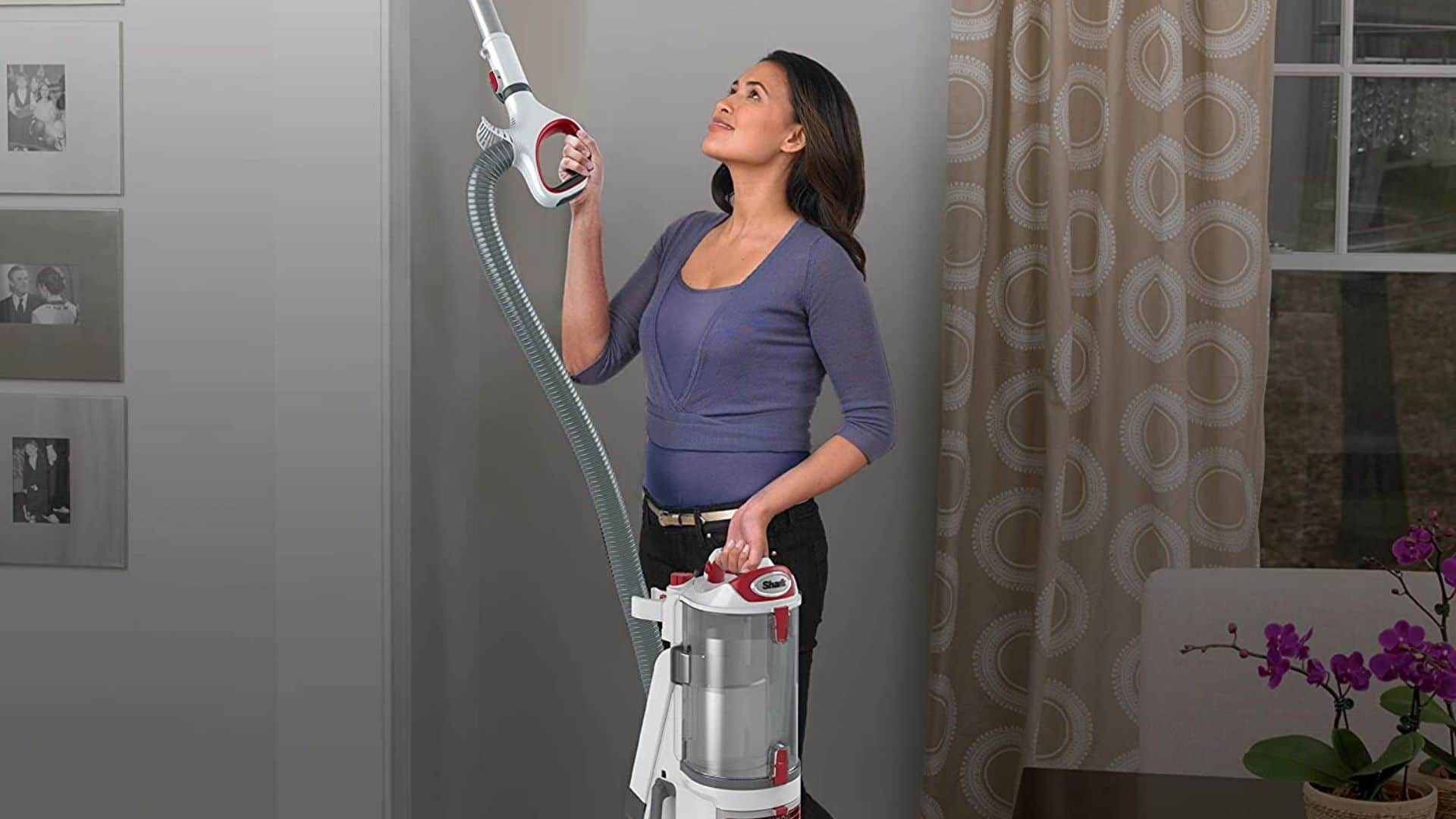 woman using shark vacuum upright corded bagless vacuum for carpet and hard floor to vacuum ceiling