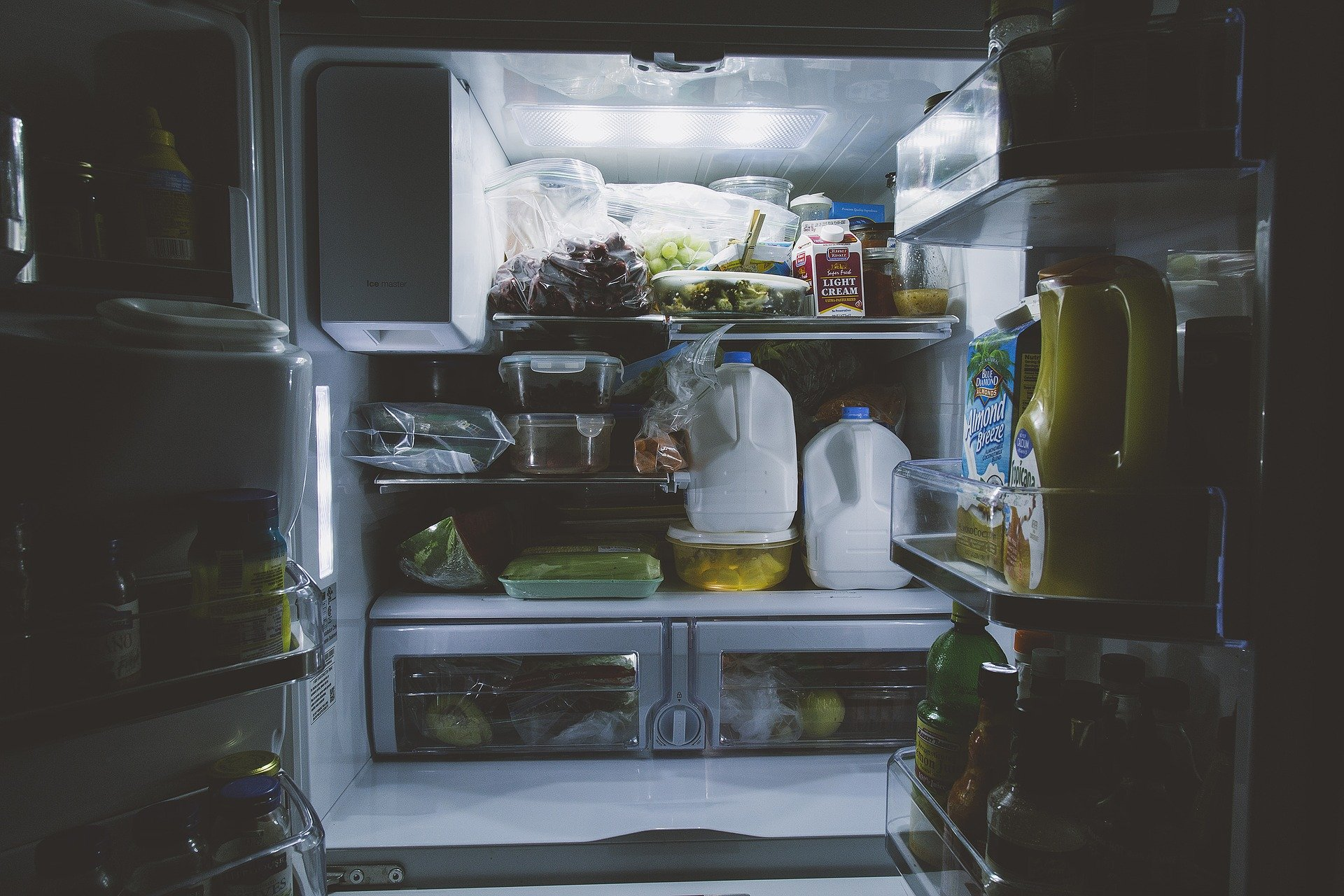 picture of open full fridge