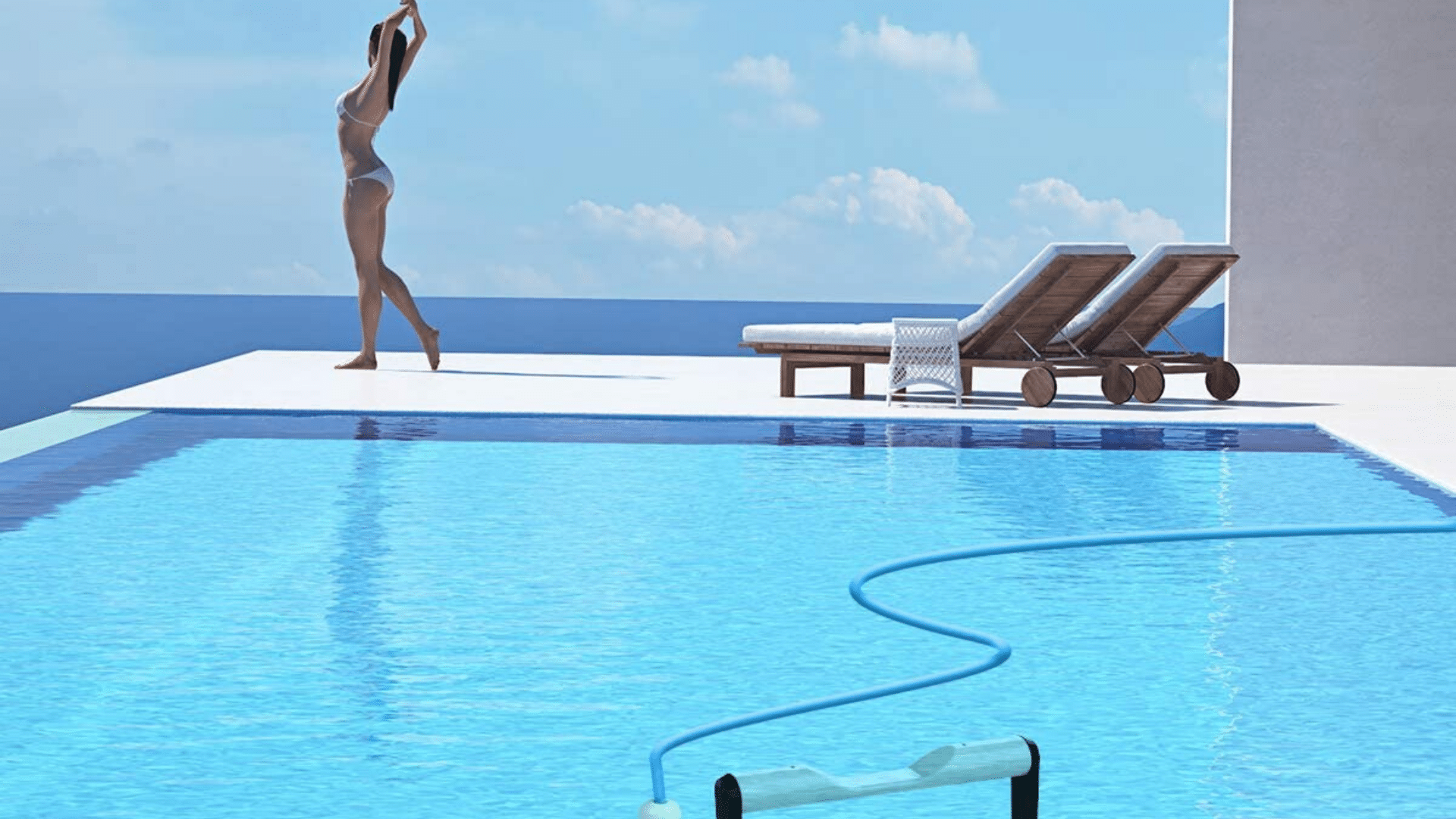 image of woman stretching beside pool cleaner